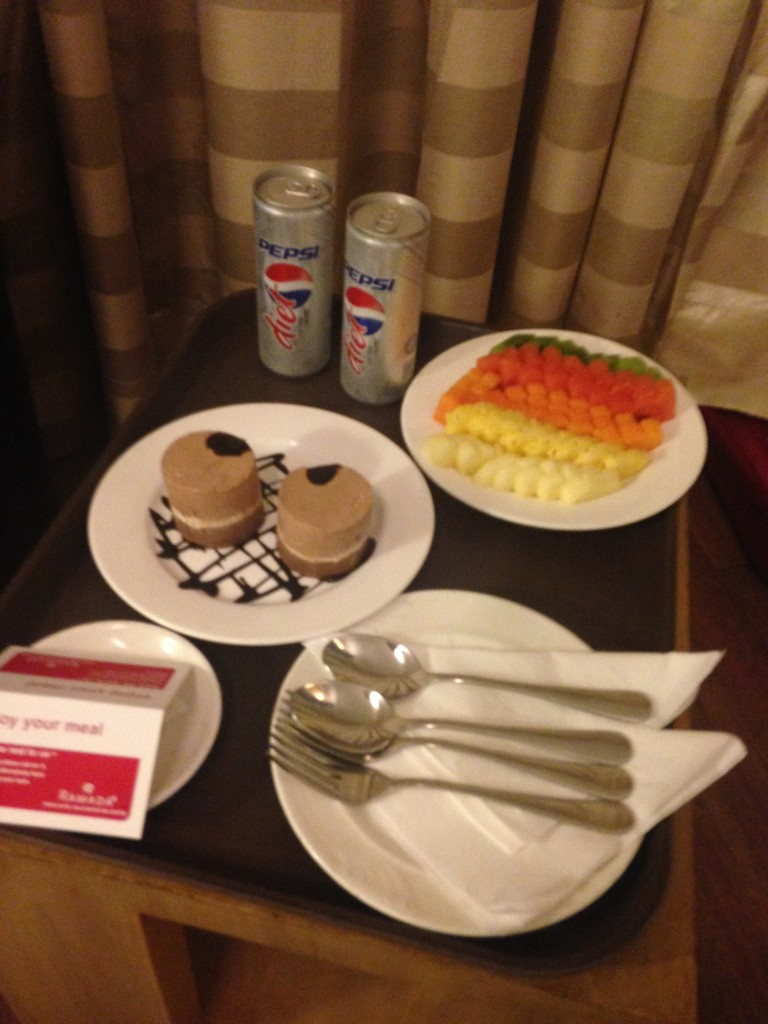 Room service at the hotel.