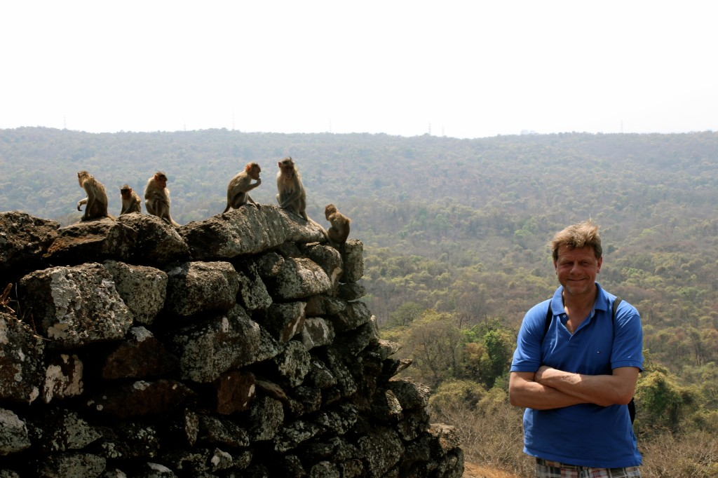 My father with some of the many monkeys in Sajay Gandhi NP